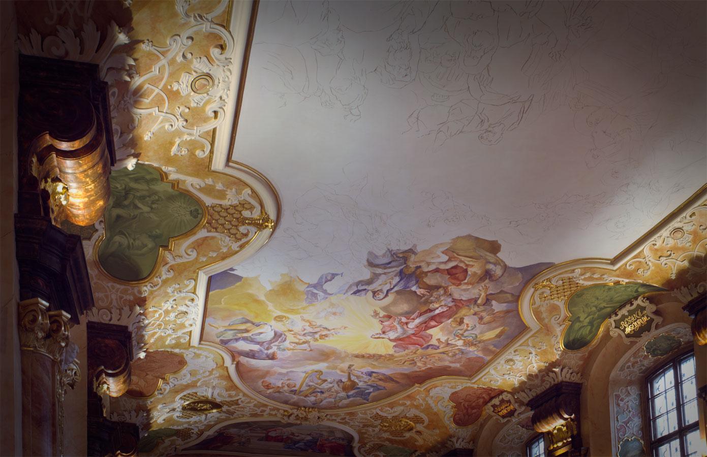 Rekonstrukcja Fresków na sklepieniu sali